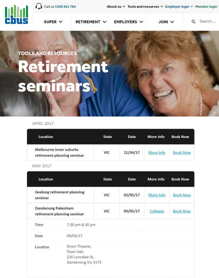 Cbus Retirement Seminars