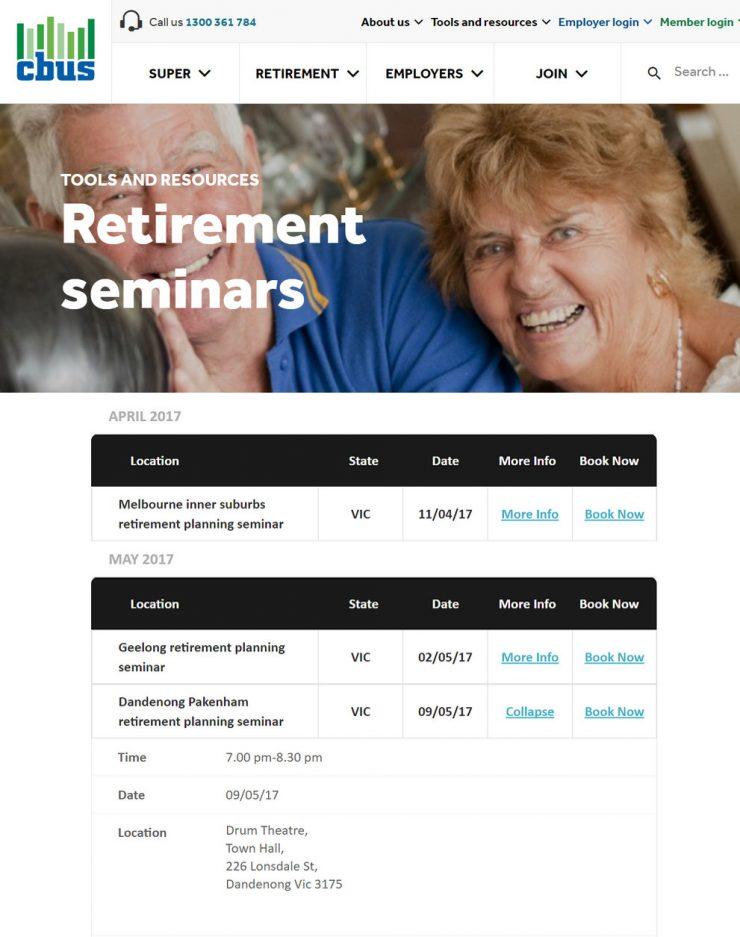 Cbus Retirement Seminars